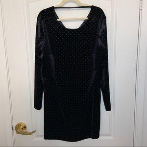 Trendsetter Studded Black Velvet style dress